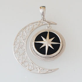 Black Onyx Compass Rose & Moon Sterling Silver Pendant