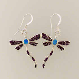 Lapis & Turquoise Dragonfly Earrings Set in Sterling Silver