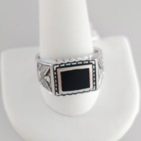 Black Onyx  Eagle Ring Set in Sterling Silver