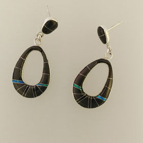 Black Onyx & Turquoise Native American Post Earrings Set in Sterling Silver
