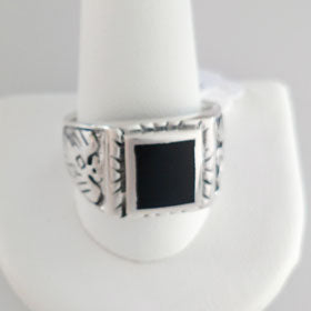 Black Onyx  Phoenix Ring Set in Sterling Silver