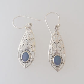 Austrailian Opal Filigree Drop Earrings Set in Sterling Silver