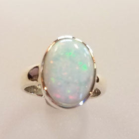 Opal Ring Set in Sterling Silver