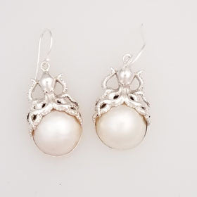 Mabe Pearl Octopus Sterling Silver Earrings