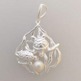 Sterling Silver & Pearl Turtle Pendant