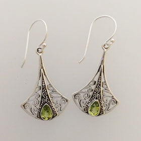 Peridot Hatchet Drop Earrings Set in Sterling Silver