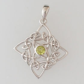 Peridot Celtic Sterling Silver Pendant
