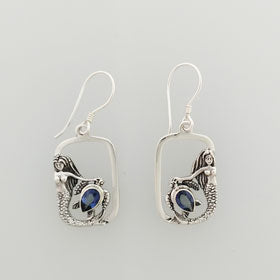Blue Quartz Mermaid and Turtle Earrings Set in Sterling Silver