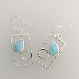 Larimar & Blue Topaz Square Drop Sterling Silver Earrings