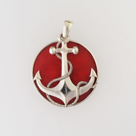 Red Coral Anchor Pendant Set in Sterling Silver