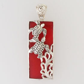 Red Coral Turtle Rectangle Pendant Set in Sterling Silver