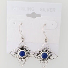 Lapis Flower Sterling Silver Earrings