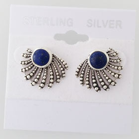 Lapis Fan Sterling Silver Post Earrings