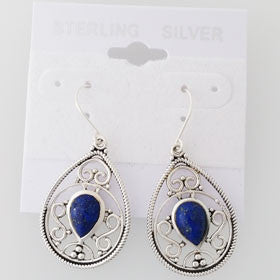 Lapis Filigree Drop Sterling Silver Earrings