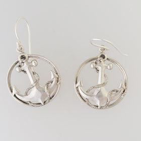 Mother of Pearl Anchor Earrings Set in Sterling Silver