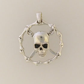 Sterling Silver Pirate Skull Pendant
