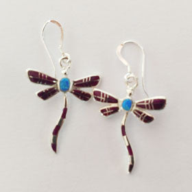 Sugilite & Turquoise Dragonfly Earrings Set in Sterling Silver