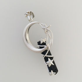 Lava Crystal Moon & Stars Pendant Set in Sterling Silver