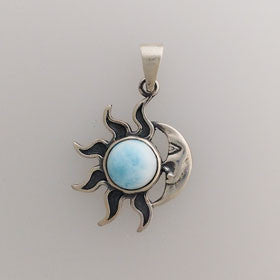 Larimar Sun & Moon Pendant Set in Sterling Silver