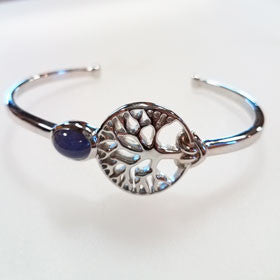Tanzanite Sterling Silver Tree of Life Cuff Bracelet