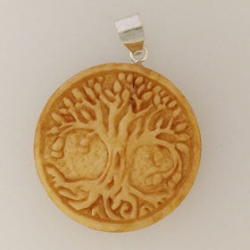 Bone Tea-Stained Tree of Life Pendant Set in Sterling Silver Pendant