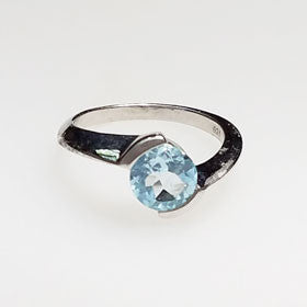 Blue Topaz Curl Ring Set in Sterling Silver