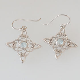 Blue Topaz Celtic Star Sterling Silver Earrings