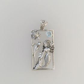 Blue Topaz & Pearl Sterling Silver Mermaid Rectangle Pendant