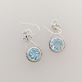 Blue Topaz Rope Wrap Earrings set in Sterling Silver