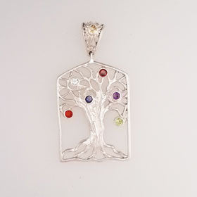Sterling Silver Mulit-Stone Tree of Life Pendant