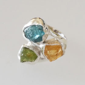 Apatite, Citrine & Peridot Rough Cut Stone Ring Set in Sterling Silver