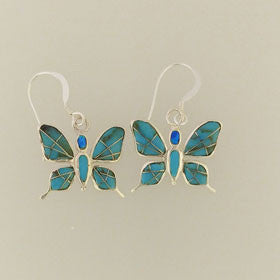 Turquoise Butterfly Earrings Set in Sterling Silver