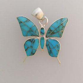 Turquoise Butterfly Pendant Set in Sterling Silver