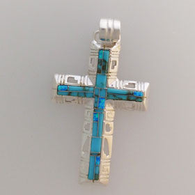 Turquoise Cross Pendant Set in Sterling Silver