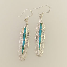 Turquoise Large Feather Earrings Set in Sterling Silver