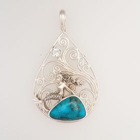 Turquoise & Topaz Mermaid Pendant Set in Sterling Silver