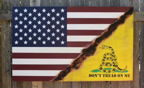 American Flag, Don't Tread On Me Flag, Gadsden Flag, Revolutionary War, Patriotic, Rustic, Distressed, Fourth of July, Hand Painted,