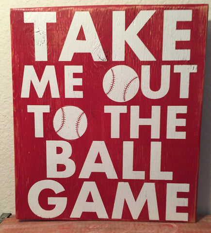 Sports Sign, Take me out to the Ball Game, handmade, wooden sign, baseball sign, handpainted, rustic, fan, father son