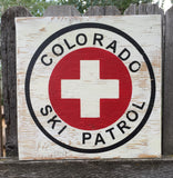 Colorado Ski Patrol Sign, First Aid Sign, Rustic Sign, Mountain Sign