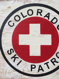 Colorado Ski Patrol sign, first aid, rustic, handmade, wooden sign, ski, cabin, mountains, rustic sign, wooden sign,