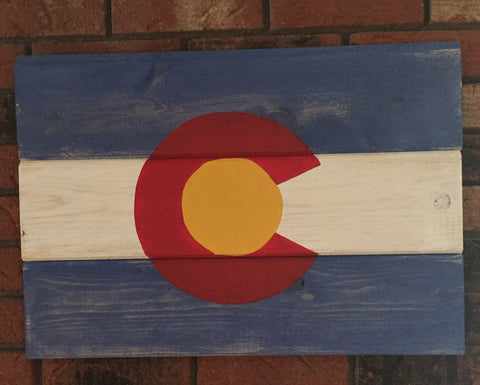 Colorado state flag sign, beetle kill pine, whitewash, handpainted, handmade, wall sign, rustic sign, Rocky Mountains,