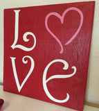Love Wall Sign, Valentine's Wall Decor, Heart Sign, Valentine's Day Sign