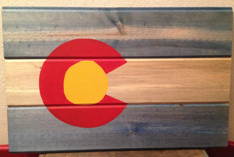 Colorad Flag, Rustic Colorado State Flag Wooden Sign, Beetle Kill, Flag Wall Hanging