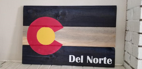 Personalized Colorado Flag Sign, Rustic Colorado State Flag Wooden Sign, Last Name