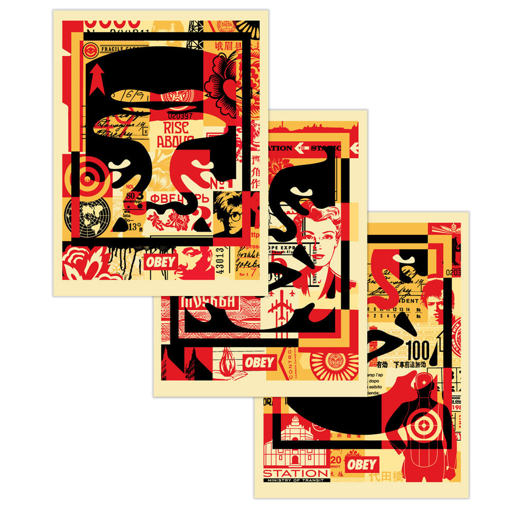 OBEY 3-FACE COLLAGE 18x24 Signed Offset Lithograph Set