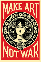 SIGNED Shepard Fairey MAKE ART NOT WAR Print Poster Obey Giant 24x36 SALE
