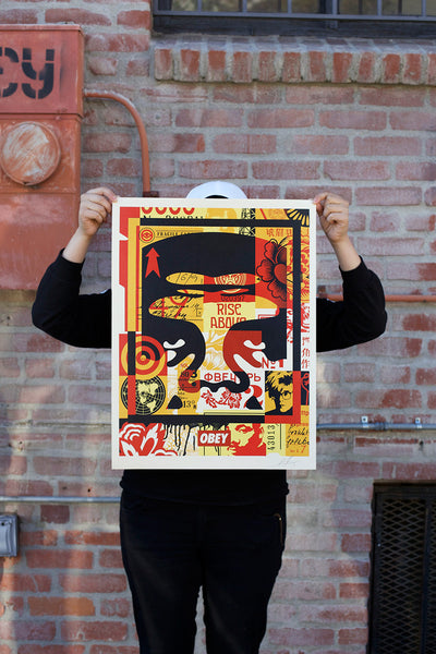 OBEY 3 FACE COLLAGE 18x24 Signed Offset Poster Set