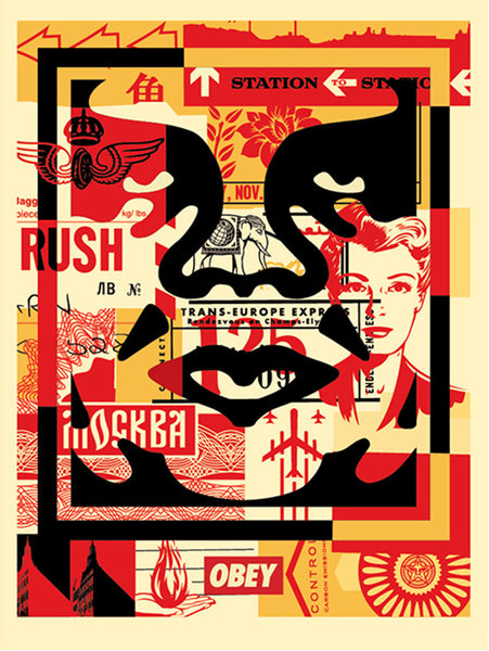 obey 3 face collage 18x24 signed offset poster set store obey giant. Black Bedroom Furniture Sets. Home Design Ideas