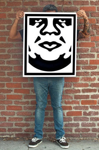 obey 3 face white signed poster set store obey giant. Black Bedroom Furniture Sets. Home Design Ideas