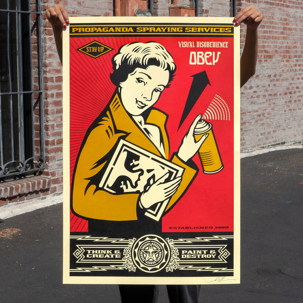 OBEY STAY UP GIRL Signed Offset Lithograph